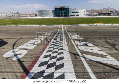 Las Vegas - Circa July 2017: Start Finish line at Las Vegas Motor Speedway. LVMS hosts NASCAR and NHRA events including the Pennzoil 400 VII