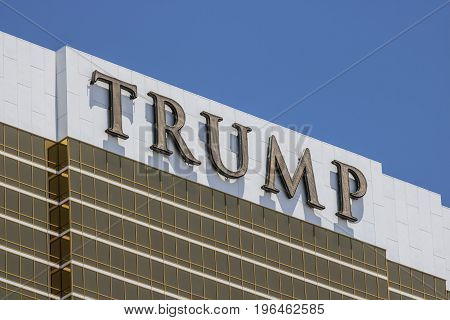 Las Vegas - Circa July 2017: Trump Hotel Las Vegas. Named for real estate developer Donald Trump the exterior windows are gilded with 24-karat gold V