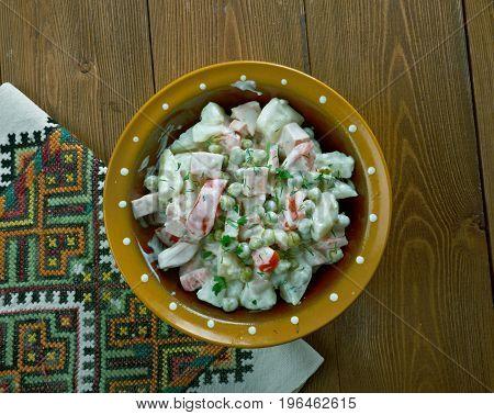 Latvian peasant salad - close up meal