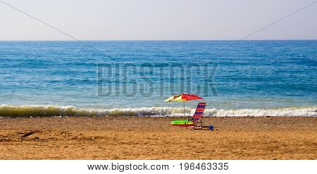 Beach. Chair in the beach. Costa del Sol, Andalusia, Spain.