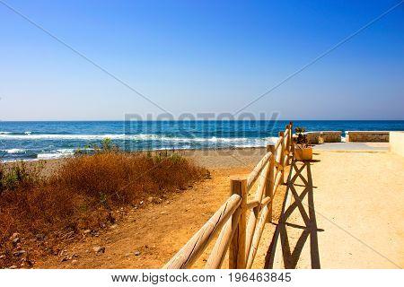 Beach. Beach view. San Pedro de Alcantara city, Marbella, Andalusia, Spain.