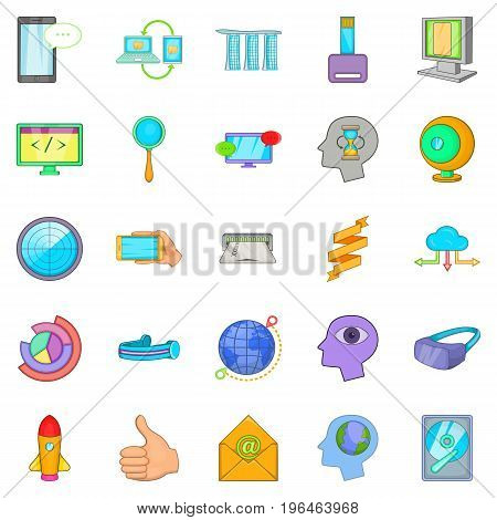 Data transfer icons set. Cartoon set of 25 data transfer vector icons for web isolated on white background
