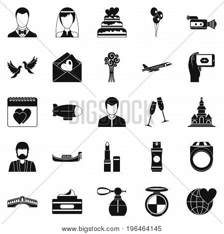 Bridal icons set. Simple set of 25 bridal vector icons for web isolated on white background