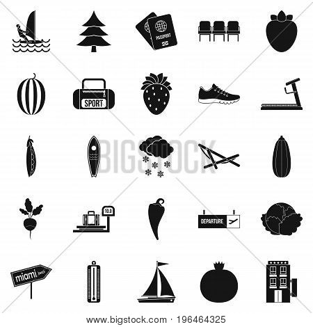 Water sports icons set. Simple set of 25 water sports vector icons for web isolated on white background
