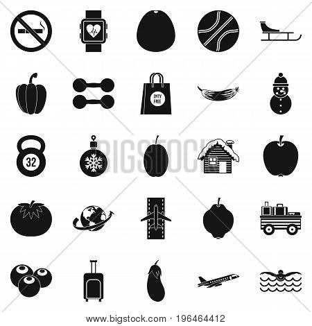 Practice icons set. Simple set of 25 practice vector icons for web isolated on white background