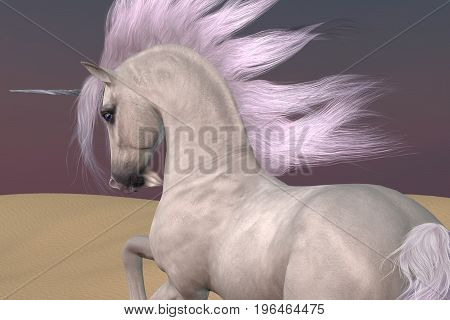Arabian Unicorn Dreams 3d illustration - A Unicorn is a creature of myth and fantasy and has cloven hooves forehead horn and a beard.
