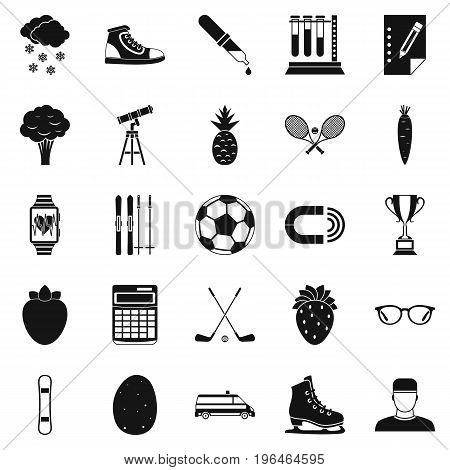 Sports health icons set. Simple set of 25 sports health vector icons for web isolated on white background