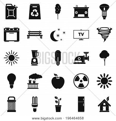 Energy icons set. Simple set of 25 energy vector icons for web isolated on white background
