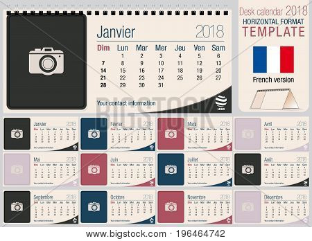 Useful desk triangle calendar 2018 template with space to place photos. Size: 220mm x 100mm. Format horizontal. Vector image. French version