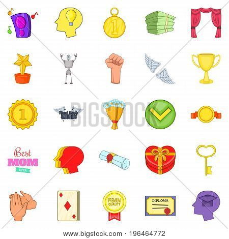Win icons set. Cartoon set of 25 win vector icons for web isolated on white background
