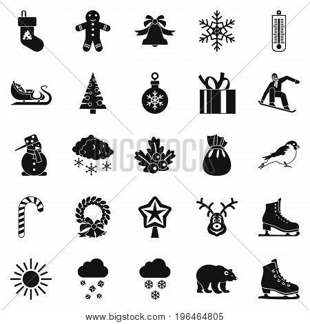 Christmas holidays icons set. Simple set of 25 christmas holidays vector icons for web isolated on white background