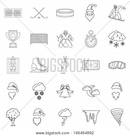 Sport stuff icons set. Outline set of 25 sport stuff vector icons for web isolated on white background