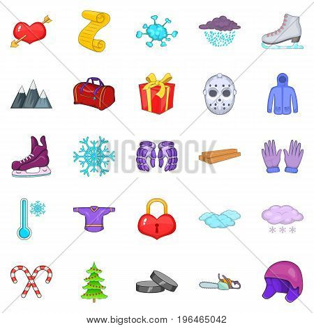 Winter things icons set. Cartoon set of 25 winter things vector icons for web isolated on white background