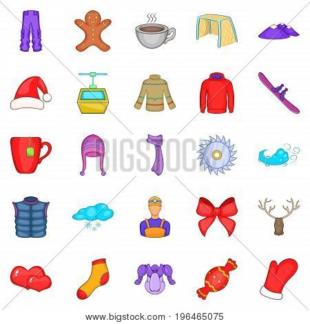 Winter clothes icons set. Cartoon set of 25 winter clothes vector icons for web isolated on white background