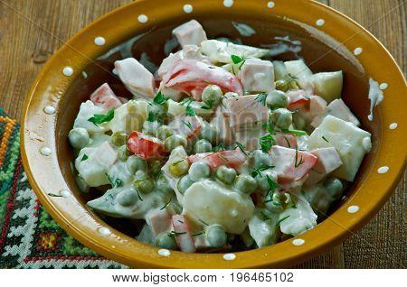 Latvian peasant salad - close up close up  meal