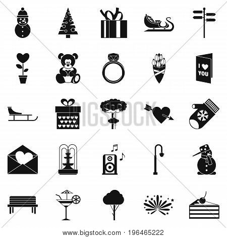 Winter walk icons set. Simple set of 25 winter walk vector icons for web isolated on white background