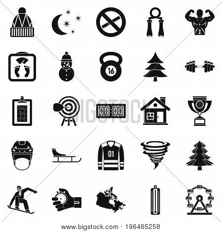 Winter sport icons set. Simple set of 25 winter sport vector icons for web isolated on white background