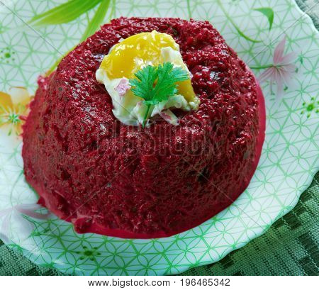 beetroot tartare close up . French cuisine close up  meal