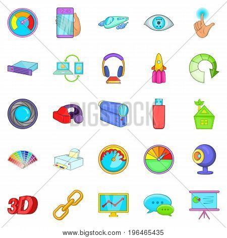 Technique icons set. Cartoon set of 25 technique vector icons for web isolated on white background
