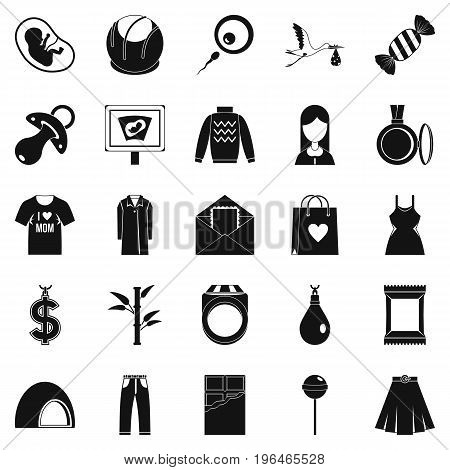 Pregnancy icons set. Simple set of 25 pregnancy vector icons for web isolated on white background