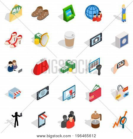 Marketing icons set. Isometric set of 25 marketing vector icons for web isolated on white background