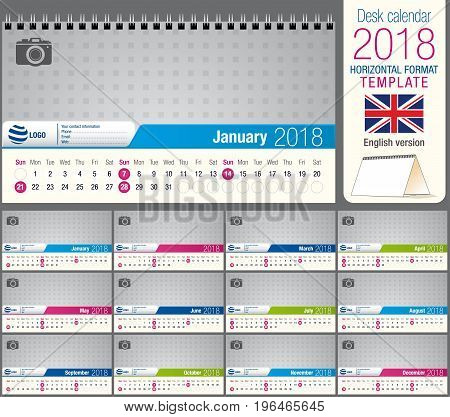 Useful desk triangle calendar 2018 template, ready for printing. Size: 22 cm x 12 cm. Format horizontal. English version
