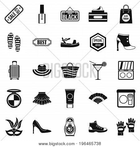 Black friday icons set. Simple set of 25 black friday vector icons for web isolated on white background