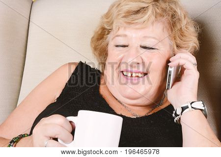 Old Woman Talking On Phone.