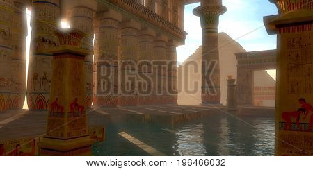 Egyptian Bath 3d illustration - Egyptian hieroglyphs adorn the walls arches and pillars of this Egyptian bath on the Gisa Plateau near the Great Pyramids.