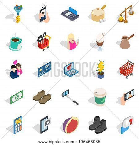 Shopping trip icons set. Isometric set of 25 shopping trip vector icons for web isolated on white background