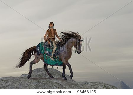 Indian Sky Feather 3d illustration - A North American Indian brave searches the mountains on his horse for big game to bring back to his tribe.