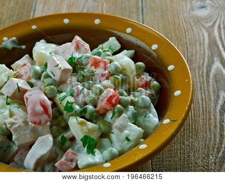 Latvian peasant salad - close up breakfast close up