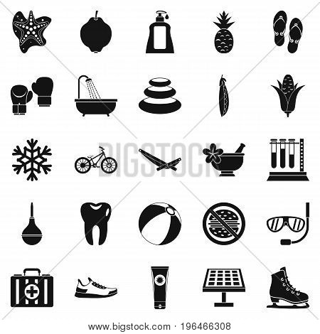 Tropical vacation icons set. Simple set of 25 tropical vacation vector icons for web isolated on white background
