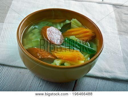 Pitter und Jupp - German soup with savoy cabbage and smoked sausage