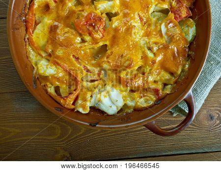 cod gratin with bearnaise sauce. French cuisine