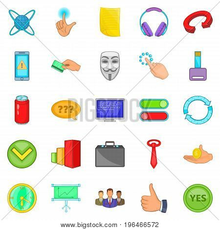 Team building icons set. Cartoon set of 25 team building vector icons for web isolated on white background