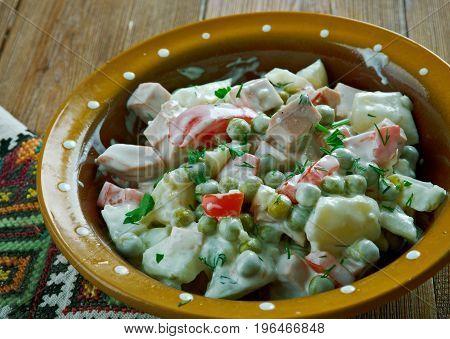 Latvian peasant salad - close up.   food