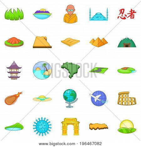 Relocation icons set. Cartoon set of 25 relocation vector icons for web isolated on white background