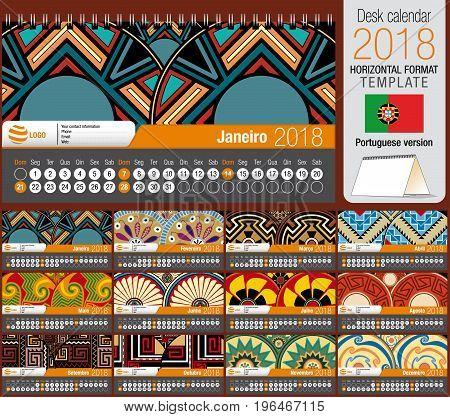 Desk triangle calendar 2018 template with native rosettes design. Size: 22 cm x 12 cm. Format horizontal. Vector image. Portuguese version