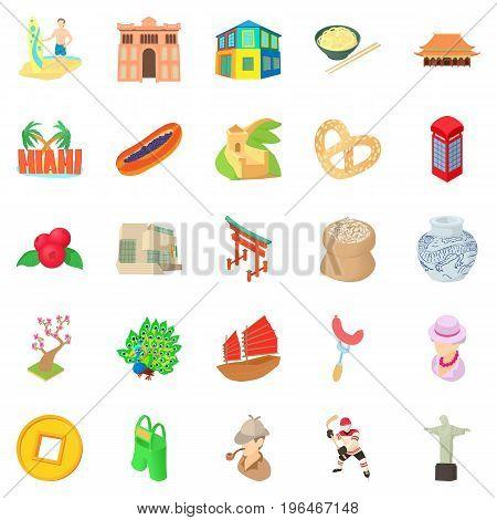 England icons set. Cartoon set of 25 england vector icons for web isolated on white background