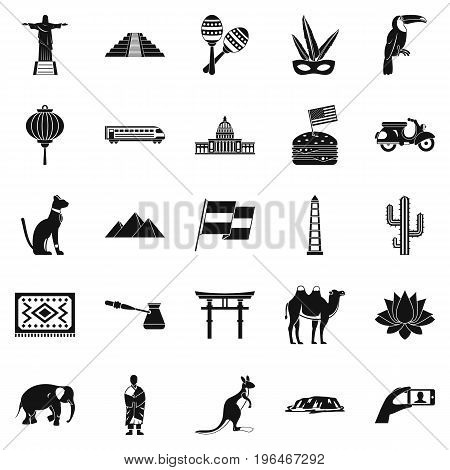 Central America icons set. Simple set of 25 central America vector icons for web isolated on white background