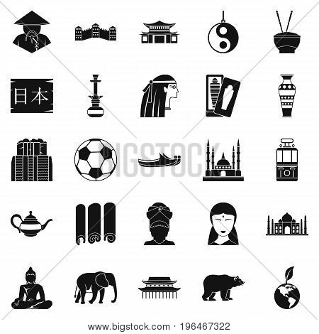 Traveling in Asia icons set. Simple set of 25 traveling in asia vector icons for web isolated on white background