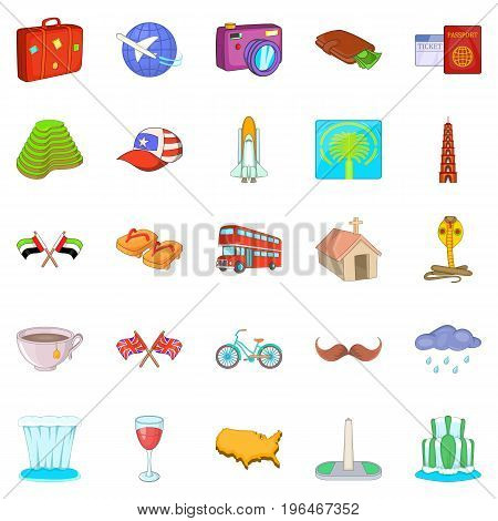 World trip icons set. Cartoon set of 25 world trip vector icons for web isolated on white background