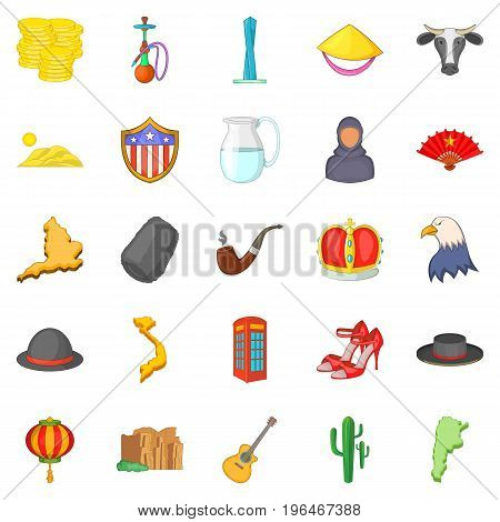 America icons set. Cartoon set of 25 america vector icons for web isolated on white background