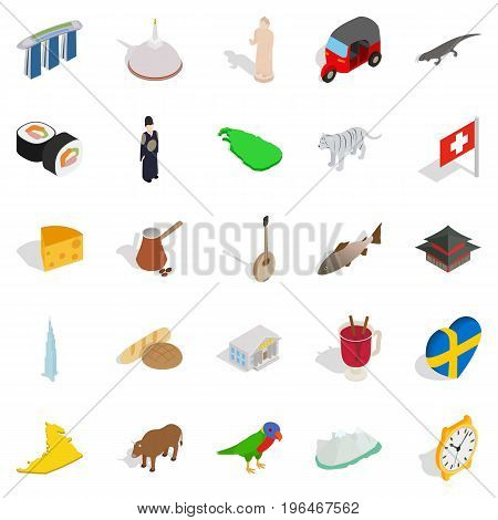 Eastern Europe icons set. Isometric set of 25 eastern Europe vector icons for web isolated on white background