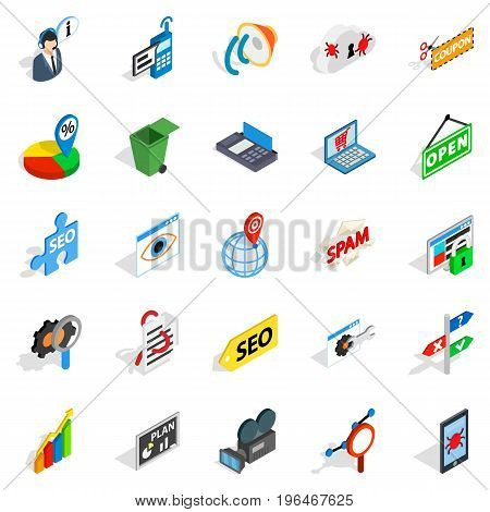 SEO icons set. Isometric set of 25 SEO vector icons for web isolated on white background