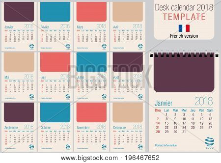 Useful desk calendar 2018 template in pastel colors, ready for printing on laser or offset. Size: 150mm x 210mm. Format A5 vertical. French version