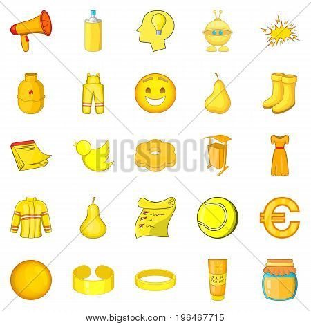 Yellow icons set. Cartoon set of 25 yellow vector icons for web isolated on white background