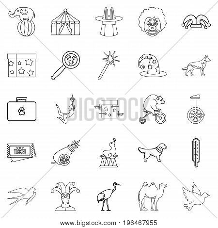 Circus with animals icons set. Outline set of 25 circus with animals vector icons for web isolated on white background