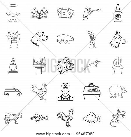 Veterinarian icons set. Outline set of 25 veterinarian vector icons for web isolated on white background